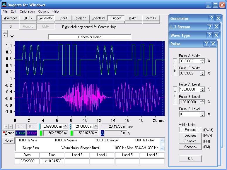 Function Generator For Windows : Daqarta channel sound card signal generator features