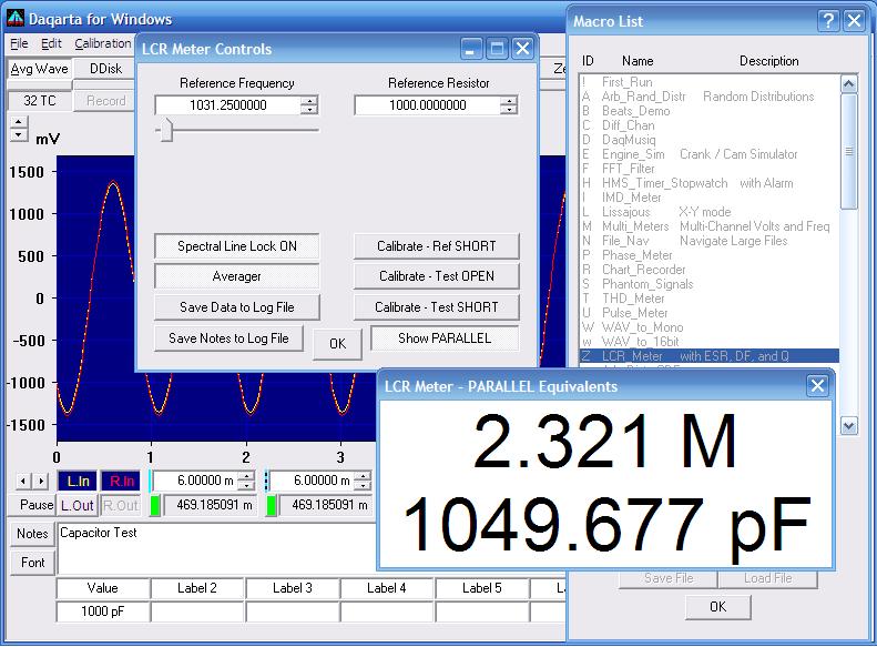 Daqarta - Sound Card LCR Meter Mini-App with ESR, DF, and Q