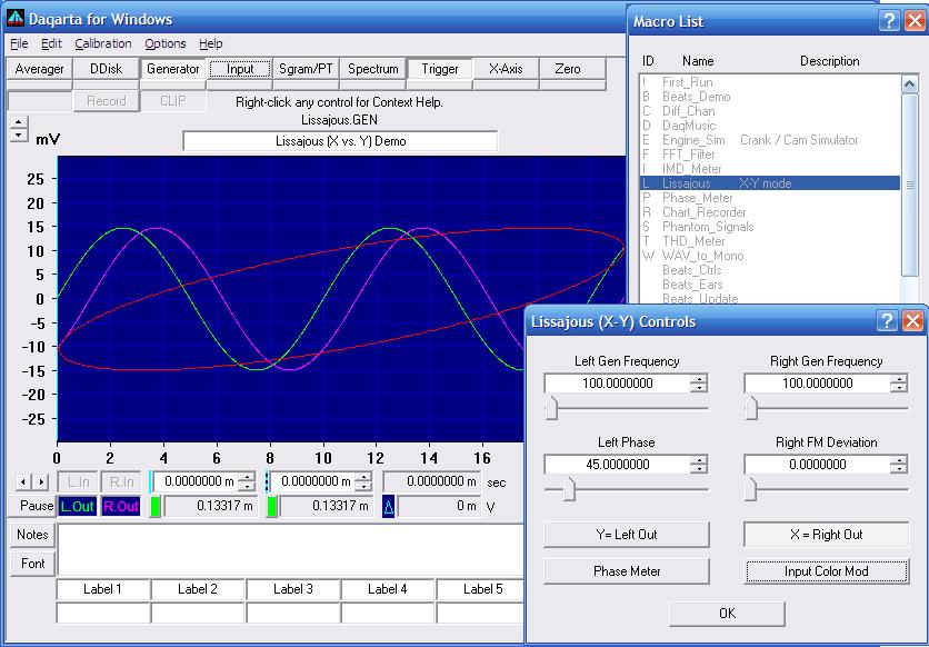 Daqarta - Sound Card Lissajous (X vs  Y) Mini-App