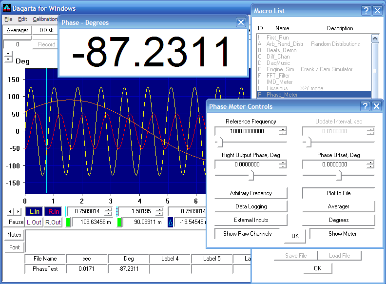 Daqarta - Sound Card Precision Phase Meter/Plotter/Logger