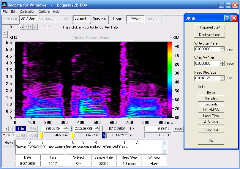 Daqarta - Sound Card Spectrum Analyzer Features