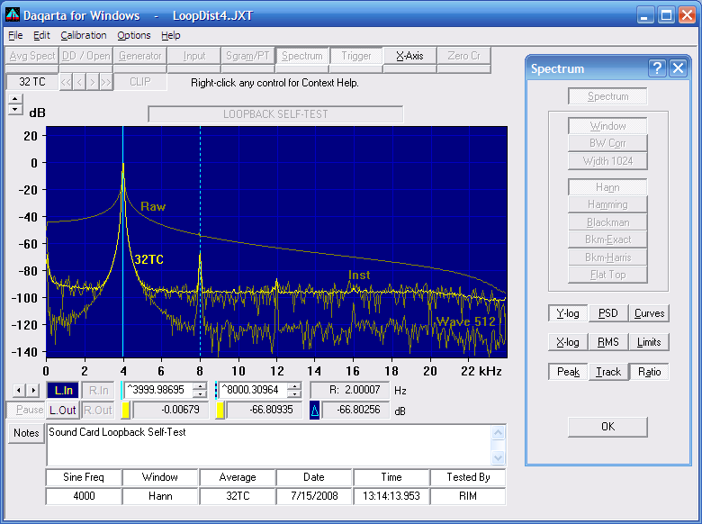 Daqarta Sound Card Spectrum Analyzer Features